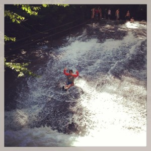 Part of the magic we did find this summer: my 9 year old on Sliding Rock.