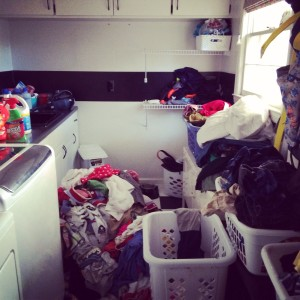 The laundry room: the victim of a week of class holiday parties.